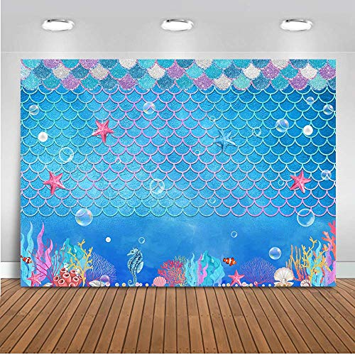 Mocsicka Mermaid Backdrop 5x3ft Under The Sea Mermaid Birthday Party Decorations Cake Table Photo Booth Backdrops Mermaid Princess Baby Shower Photography Background