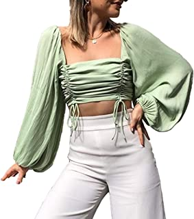 Womens Sexy Square Neck Puff Sleeve Blouse Ruched Cropped Top
