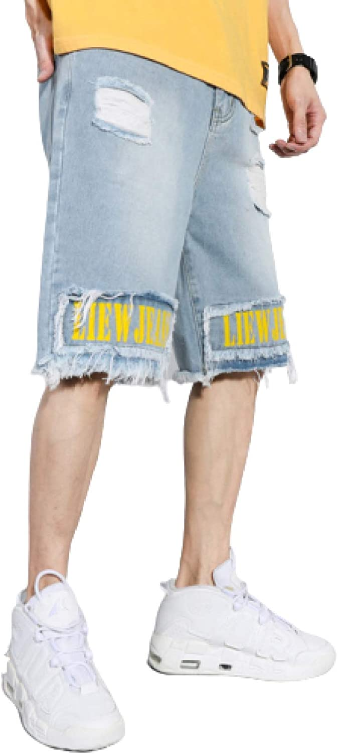 Men's Ripped Denim Shorts Loose Large Size Color Matching Five-Point Pants Pure