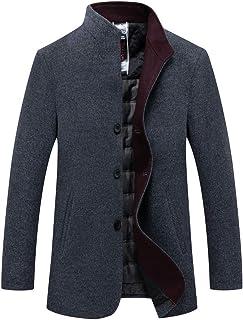 6cf186b63ed INVACHI Mens Winter Wool Coat Single Breasted Slim Fit Stylish Fleece Lined  Thicken Jacket Pea Coat