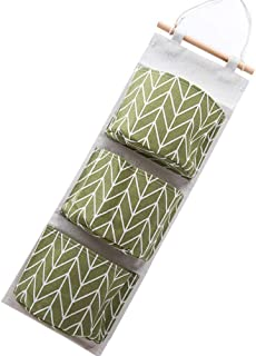 YuamMei pack Wall Hanging Storage Bag  Grids Linen Cotton Fabric Waterproof the Door Closet Organizer for Bedroom and Bathroom  Green