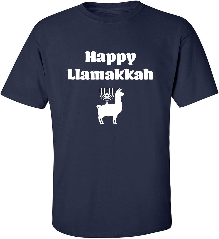 Happy Llamakkah Adult T-Shirt in Navy - XXXXX-Large