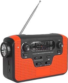 Alomejor Bluetooth Emergencia Solar Manivela Portátil Radio con Am/FM/sw Led Linterna Cargador USB (Rojo)