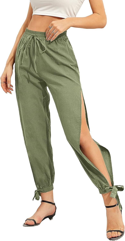SweatyRocks Women's Casual Elastic Waist Split Side Knot Hem Long Pants