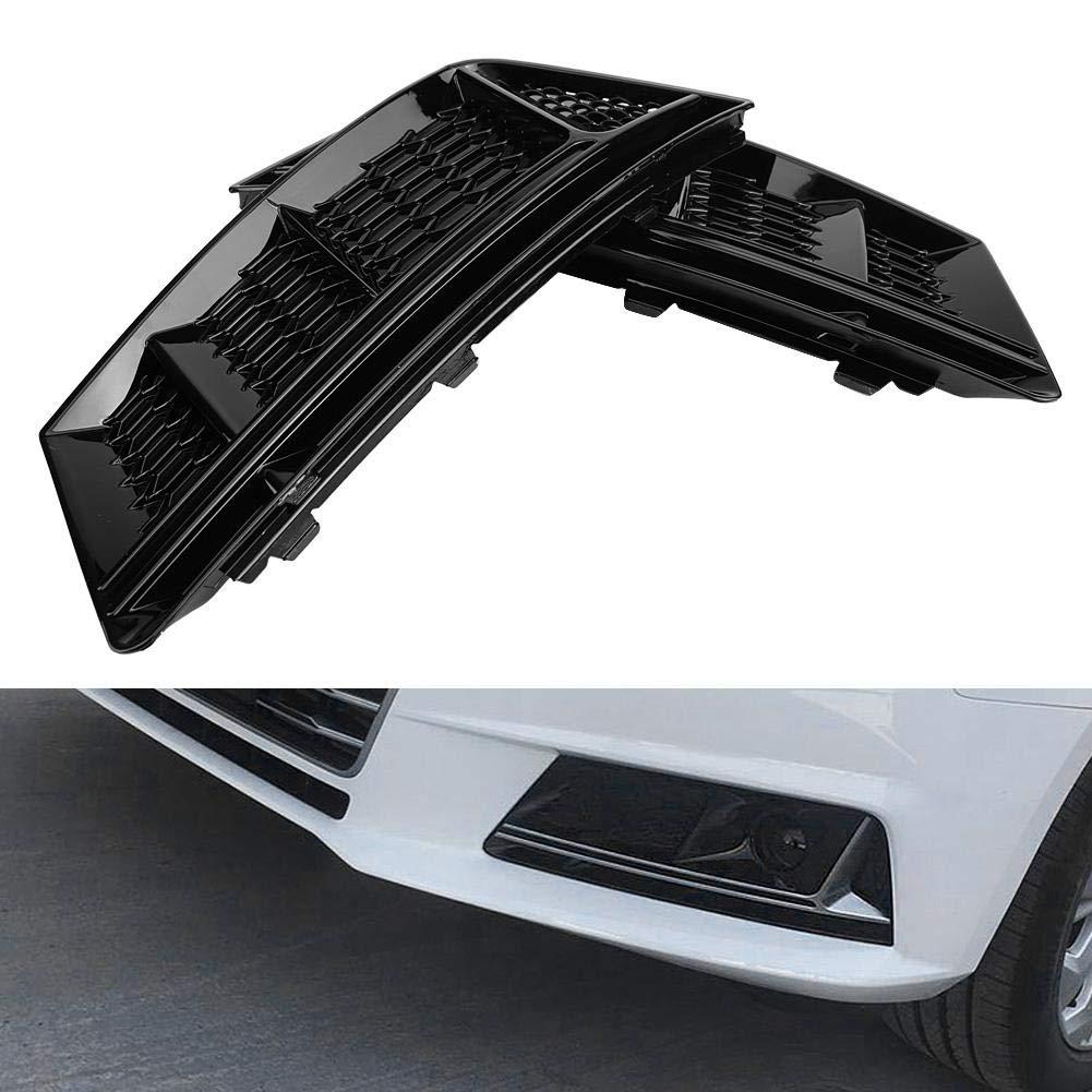 Color Negro Brillante 2 Unidades KIMISS Parrillas de luz antiniebla para Parachoques Delantero Estilo S4 para A4 B9 2017-2018