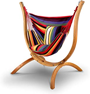 Gardeon Hammock Chair - 120kg Weight Supported Russia Imported Larch Wood Hammock Stand| Cotton and Polyester Hanging Chair for Home Garden Yard