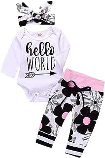 Toddler Baby Boy Girl Clothes Floral Print Romper Jumpsuit + Pants 2018 Cute Infant Outfit Set