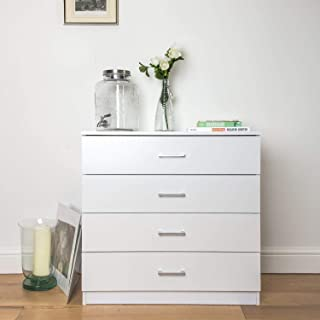 MTFY 4 Drawers Chest, White Wooden Dresser Drawer Storage, Easy to Assemble, Chest of Drawers for The Bedroom, Living Room, Kid's Room
