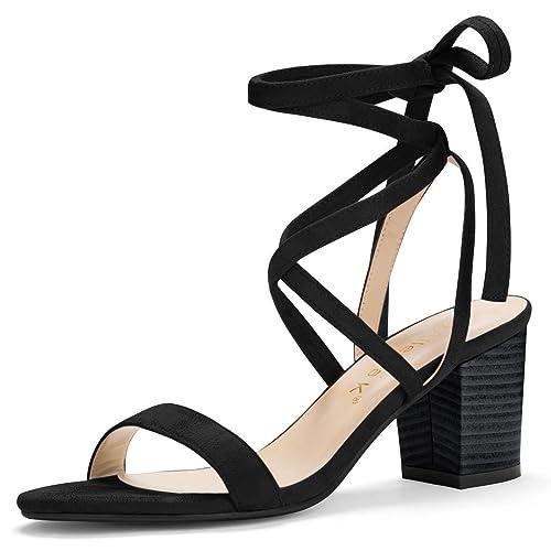 478e734f70ea Allegra K Women s Open Toe Mid Chunky Heel Lace Up Sandals