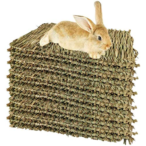 SODIAL 15 Pack Woven Bed Mat for Rabbits-Grass Mat & Bunny Bedding Nest - Natural Chew Toy Bed for Guinea Pig Chinchilla