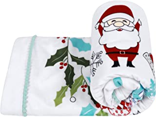 """TILLYOU Microfleece Short Plush Minky Baby Blanket for Winter - Christmas Theme Ultra Soft Small Toddler Bed Crib Blanket with Santa Claus & Trees - Machine Washable & Super Warm, 30""""x40"""" White"""