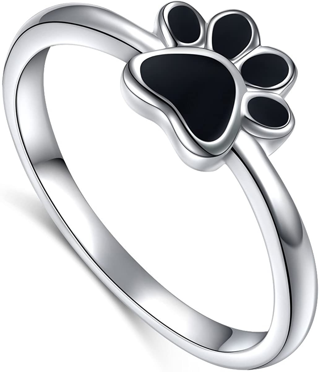 S925 Albuquerque Mall OFFicial Sterling Silver Jewelry Puppy Dog Print Si Paw Ring Cat Pet