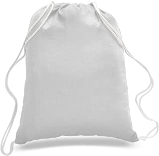 (6 Pack) Set of 6- Durable Cotton Drawstring Tote Bags (White)