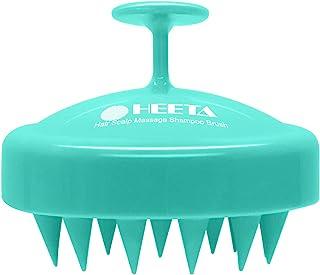 Cepillo de champú para el cabello, cepillo para el cuidado del cuero cabelludo HEETA con masajeador de cuero cabelludo de silicona suave (verde)