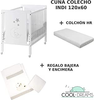 Cuna colecho de bebe Indi + Kit colecho + Colchón HR + 4