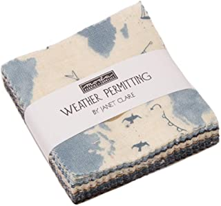 Weather Permitting Mini Charm Pack by Janet Clare; 42-2.5 Inch Precut Fabric Quilt Squares