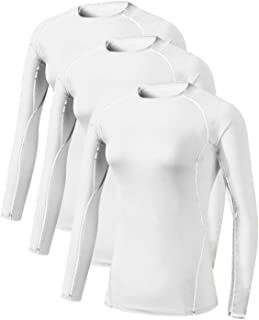 Women's 3 Pack Athletic Compression Long Sleeve T Shirt Tops