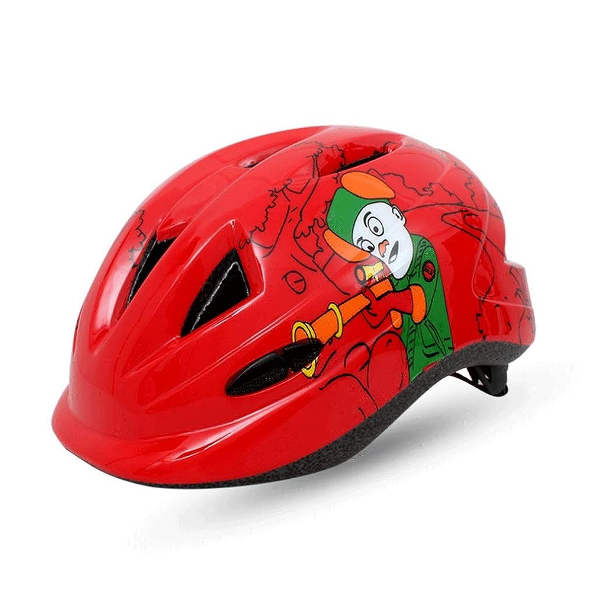 看板重要な役割を果たす、中心的な手段となる見せますヘルメット 子供用ヘルメット自転車漫画の乗馬用ヘルメットヘルメットスポーツ用品 DJLSF (色 : 赤)