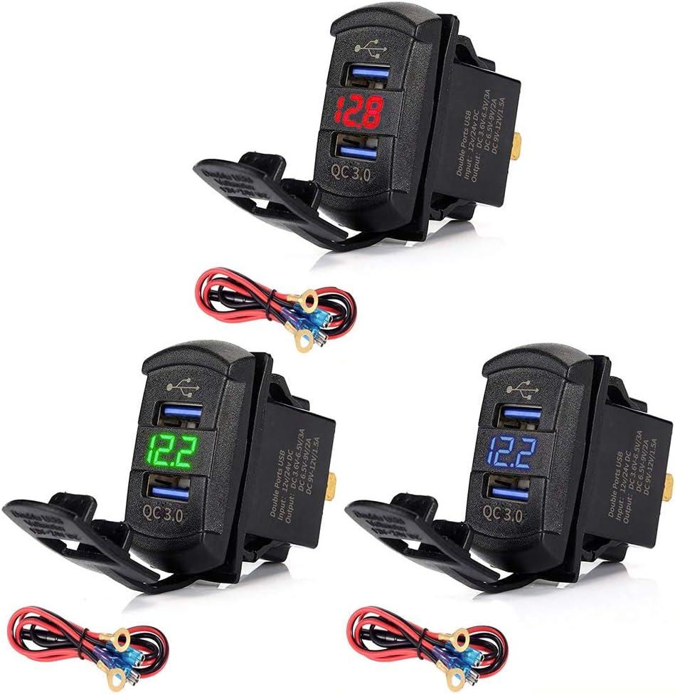 yinuneronsty Charge Rapide 3.0 Dual USB Rocker Switch QC 3.0 Chargeur Rapide LED Voltm/ètre pour Bateaux Voiture Camion Moto Smartphone Tablet