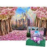 Disney Castle Backdrop 7x5ft Spring Dreamy Pink Sakura Flowers Photography Background Wedding Kids Girls Birthday Party Princess Photo Studio Props YL058