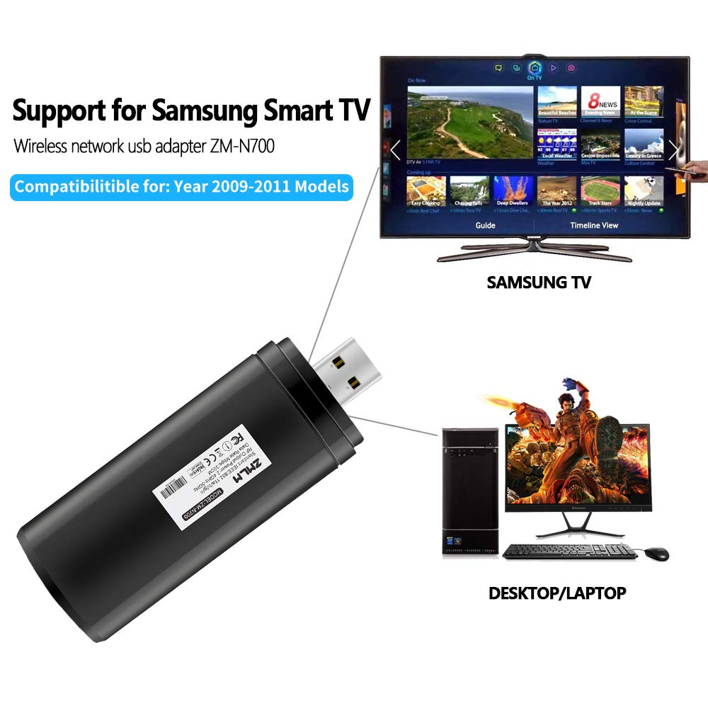 ZMLM - Adaptador WiFi USB para Samsung Smart TV, 802.11ac 2.4 GHz y 5 GHz Dual-Band (Modelos 2009 – 2011) Wireless Network WiFi LAN Adaptador Stick para Samsung TV Windows 10/8/8.1/7/Vista/XP/2000: Amazon.es: Electrónica