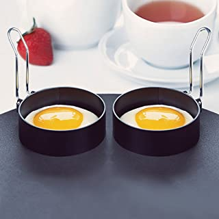 ☀ Dergo ☀ 2 PCS Nonstick Stainless Steel Handle Round Egg Rings Shaper Pancakes Molds Ring
