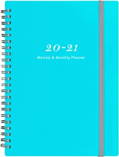 "2020-2021 Planner - Weekly & Monthly Planner with Tabs, 6.25"" x 8.3"", Elastic Closure and Thick Paper, Back Pocket with 21 Notes Pages"