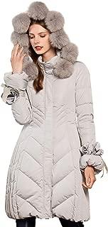 Women's Detachable Fox Fur Hoodie Long Down Jacket with Pompoms Empire Waist Winter Parka Coat