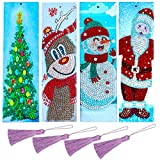 4 Sets 5D Diamond Painting Bookmarks Christmas Character Bookmarks Tassel with Santa Snowman Reindeer Christmas Tree Design for Xmas Gifts Party Favors