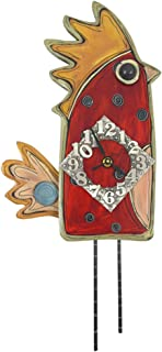 American Made Whimsical Red Hen Wall Clock, Carved Wood & Pewter, 20