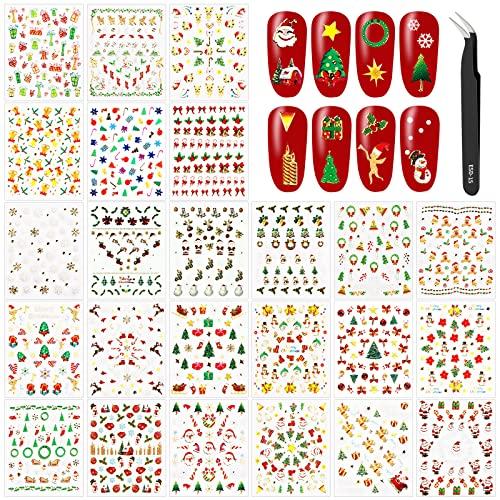 24 Hojas Pegatinas Uñas Navidad Decorativa Copos de Nieve Etiqueta Uñas Adhesivos para Uñas Nail...