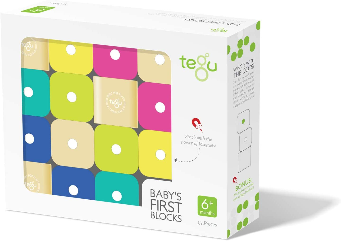 Brand new Tegu 15 Piece Magnetic Baby's Mail order cheap Blocks Building First Tints