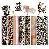 NICEVINYL Leopard Pattern Heat Transfer Vinyl Bundle 8 Pack Iron on HTV Vinyl for Shirts 12 x10inch Animal Leopard Glitter Chameleon Printed Vinyl Bundle Sheets for DIY Supplies Gifts Making