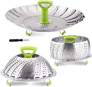 Vegetable Steamer Basket, Stainless Steel Folding Steamer Basket Insert for Veggie Fish Seafood Cooking, Expandable to Fit...
