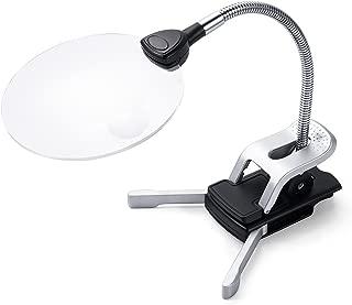 Sutekus スタンドルーペ  ルーペ拡大鏡 拡大ルーペ 読書ルーペ  拡大鏡スタンド LEDライト付き クリップ対応 レンズ径11cm 2.5倍/5倍 細かい作業対応用 母親・父親へのプレゼント