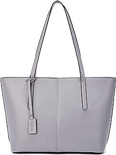 BOSTANTEN Damen Leder Handtasche Schultertaschen groß Shopper Taschen Designer Henkeltaschen Grau