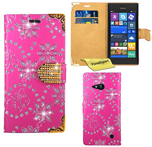 FoneExpert® Nokia Lumia 730 735 Hülle, Bling Diamant Hülle Wallet Hülle Cover Hüllen Etui Ledertasche Premium Lederhülle Schutzhülle für Nokia Lumia 730 735