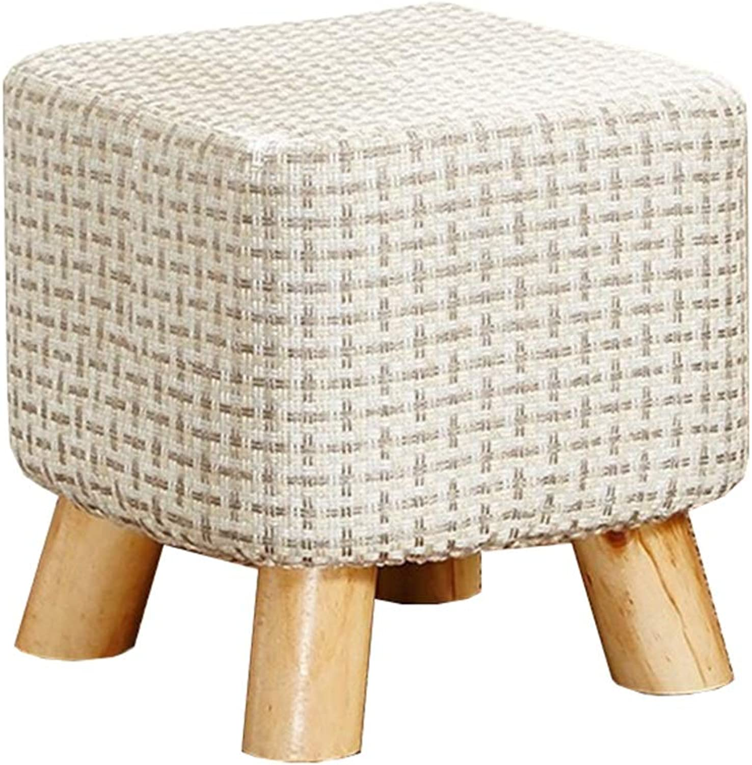 Small Stool-Solid Wood shoes Bench Linen Sofa Stool Fabric Square Stool Removable and Washable Home Bench LEBAO (color   Lattice, Size   30  30cm)