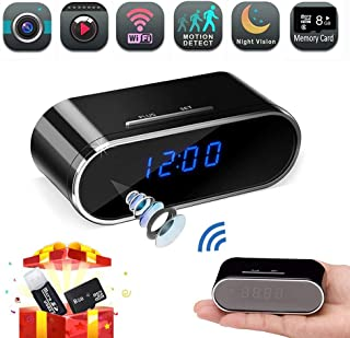 Spy Camera, Hidden Camera Clock,HD 1080P WiFi Nanny Cam,140°Angle Wireless IP Surveillance Camera with Night Vision/Motion Detection/Loop Recording for Indoor Home Security Monitoring via APP