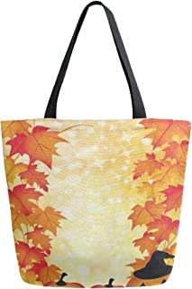 Womens Canvas Tote Bag Halloween Autumn Maple Leaves Pumpkin Large Shopping Bag Shoulder Handbag