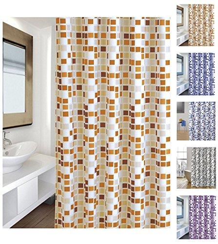 """MSV Cotexsa by 142102 Premium Anti-Schimmel Textil Duschvorhang - Anti-Bakteriell mit 12 Duschvorhangringen - Polyester, """"Mosaik"""" Orange 180x200cm – Made in Spain"""