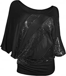 Women's Sparkly Sequin Blouse Scoopneck Batwing Sleeve Glittery Tank Tops Bling Costume T-Shirts