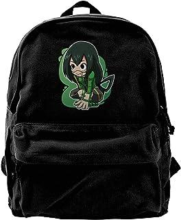Yuanmeiju Mochila de Lona Tsuyu Aka Froppy Chibi Fashion Large Vintage Canvas Traveling Bags School Backpacks CasualDaypacks