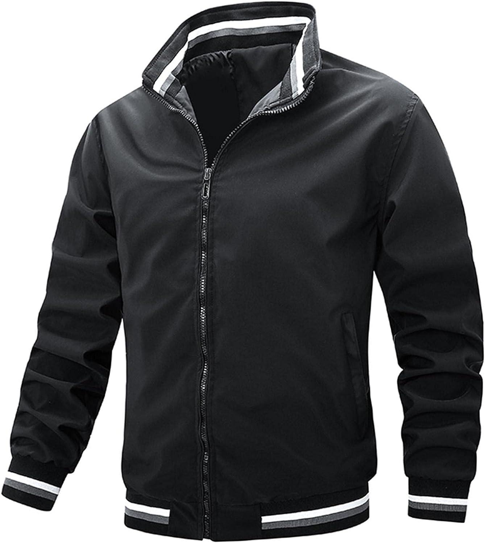 Huangse Men's Bomber Jackets Lightweight Windbreaker Spring Fall Full Zip Active Coat Outwear Varsity Baseball Jacket