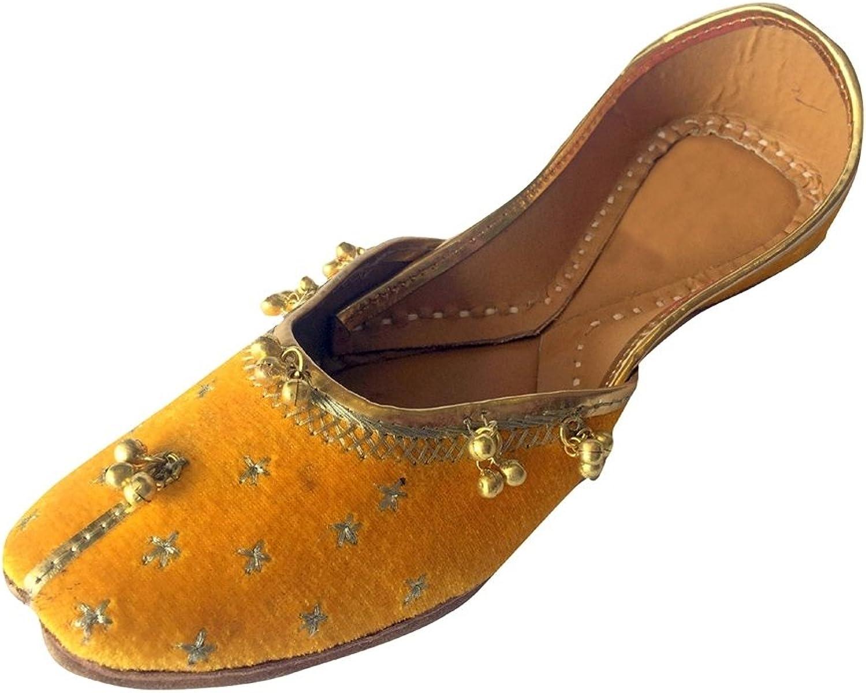 Step n Style Women's Yellow Khussa shoes Punjabi Ghungroo Jutti Ethnic Mojari Rajasthani Jaipuri Ballet shoes