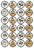 Decoración comestible para cupcakes con diseño de calaveras de azúcar, 24 unidades