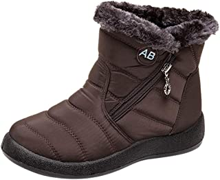 Warm Snow Boots,VigorY㉿ Women's Winter Ankle Bootie Anti-Slip Fur Lined Ankle Short Boots Waterproof Outdoor Shoes