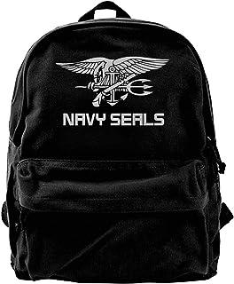 NJIASGFUI Rucksack aus Segeltuch mit marineblauem Seal-Logo, für Fitnessstudio, Wandern, Laptop, Schultertasche für Herren und Damen