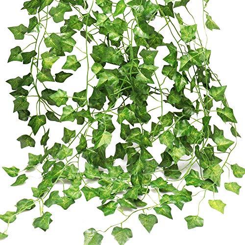 Eyscoco Efeu Künstlich, Hängepflanzen Kunstpflanze 12 Stück Grün Efeu mit Nylon Kabelbinder Pflanzen Efeuranke für Büro Kommunion Garten Balkon Hochzeit Romantische Außen Wanddekoration Festival