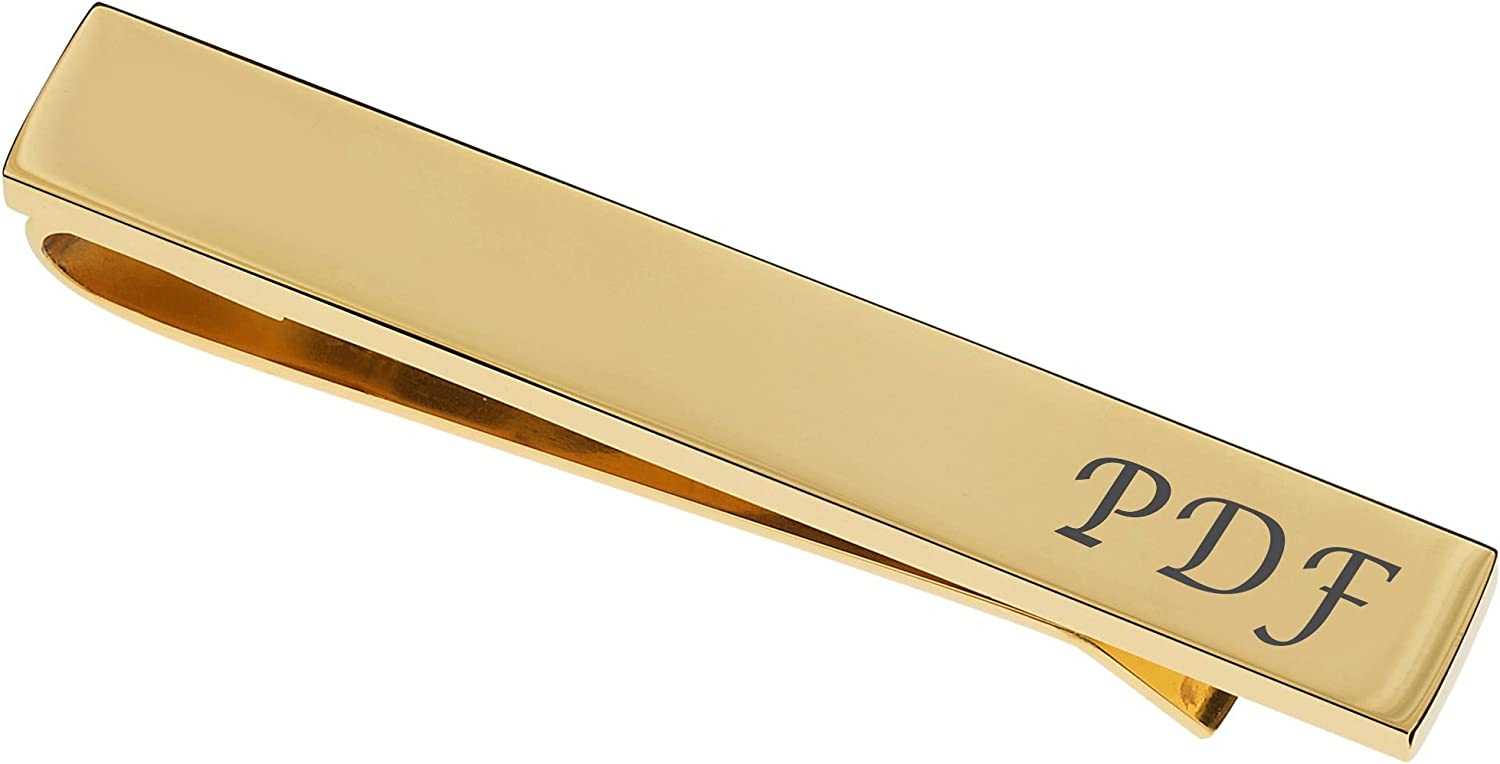 Personalized High Polished Gold Tie Clip Bar Custom Engraved Free - Ships from USA